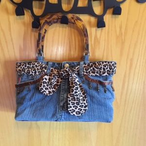 MUDD jean purse with leopard bow